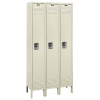 "Hallowell ReadyBuilt Locker, 36""W x 18""D x 78""H, 729 Parchment, Single Tier, 3-Wide"