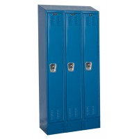 "Hallowell ReadyBuilt II Locker, 36""W x 15""D x 83""H, 707 Marine Blue, Single Tier, 3-Wide"