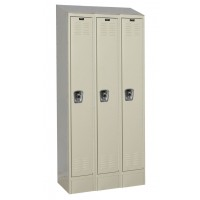 "Hallowell ReadyBuilt II Locker, 36""W x 18""D x 84""H, 729 Parchment, Single Tier, 3-Wide"