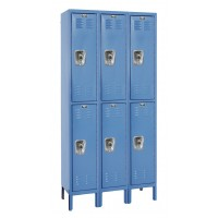 "Hallowell ReadyBuilt Locker, 36""W x 15""D x 78""H, Blue, Double Tier, 3-Wide, Assembled"