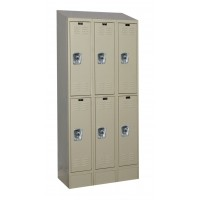 "Hallowell ReadyBuilt II Locker, 36""W x 15""D x 83""H, 729 Parchment, Double Tier, 3-Wide"