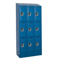 "Hallowell ReadyBuilt II Locker, 36""W x 12""D x 82""H, 707 Marine Blue, Triple Tier, 3-Wide"