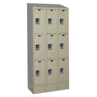 "Hallowell ReadyBuilt II Locker, 36""W x 12""D x 82""H, 729 Parchment, Triple Tier, 3-Wide"