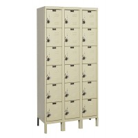 "Hallowell ReadyBuilt Locker, 36""W x 12""D x 78""H, 729 Parchment, 6-Tier, 3-Wide"