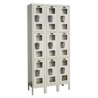 "Hallowell Safety-View Locker, 36""W x 15""D x 78""H, 729 Parchment, Triple Tier, 3-Wide"