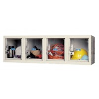 "Hallowell Safety-View Plus Locker, 48""W x 18""D x 14-3/4""H, 729 Parchment, 4-Wide Wall Mount,"