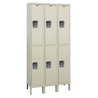 "Hallowell Maintenance-Free Quiet (MFQ) Locker, 45""W x 15""D x 78""H, 729 Parchment, Double Tier, 3-Wide"