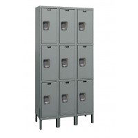 "Hallowell Maintenance-Free Quiet (MFQ) Locker, 36""W x 15""D x 78""H, 725 Hallowell Gray, Triple Tier, 3-Wide"