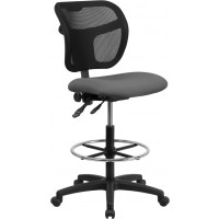 Mid-Back Mesh Drafting Stool with Fabric Seat - 3 Color Options - Optional Arms Available