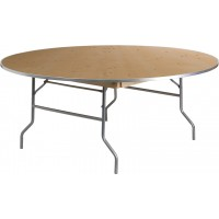 Round HEAVY DUTY Birchwood Folding Banquet Table with Metal Edges - 3 Sizes Available