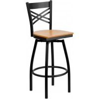 Signature Series Black ''X'' Back Swivel Metal Bar Stool - 5 Seat Options
