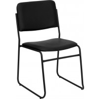 Signature Series 1000 lb. Capacity High Density Black Stacking Chair with Sled Base - 2 Seat Options