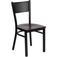 Signature Series Black Grid Back Metal Restaurant Chair - 4 Seat Options