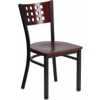 Signature Series Black Decorative Cutout Back Metal Restaurant Chair - 3 Seat Options