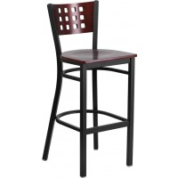 Signature Series Black Decorative Cutout Back Metal Restaurant Barstool - Mahogany Wood Back - 3 Seat Options