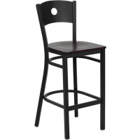 Signature Series Black Circle Back Metal Restaurant Bar Stool - Wood Seat - 4 Seat Options