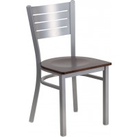 Signature Series Silver Slat Back Metal Restaurant Chair - 5 Seat Options