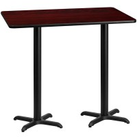 Square and Rectangular Mahogany Laminate Table Top with Bar Height Table X-Bases - Multiple Sizes Available