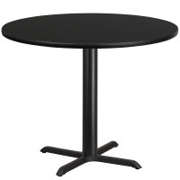 Round Black Laminate Table Tops with Table Height X-Base - 4 Sizes Available