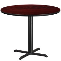 Round Mahogany Laminate Table Tops with Table Height Bases - 4 Sizes Available