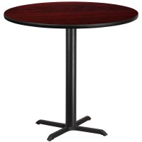 Round Mahogany Laminate Table Tops with Bar Height Table X-Bases - 4 Sizes Available