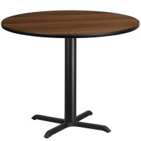 Round Walnut Laminate Table Tops with Table Height Bases - 4 Sizes Available