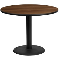 Round Walnut Laminate Table Tops with Round Table Height Bases - 4 Sizes Available