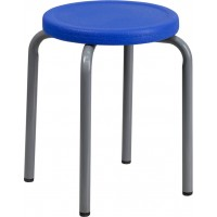 Stackable Stool with Seat and Silver Powder Coated Frame - 2 Color Options - Optional Arms Available