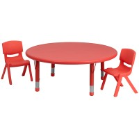 45'' Round Adjustable Plastic Activity Table Sets with 2 School Stack Chairs - 3 Colors Avialable