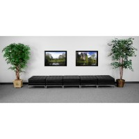 Signature Imagination Series Black Leather Five Seat Bench - 3 Size Options