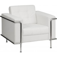 Signature Lesley Series Contemporary Leather Chair with Encasing Frame - 3 Seat Options