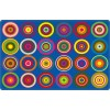 Flagship Carpets Color Rings in Indigo Educational Rugs - 3 Sizes