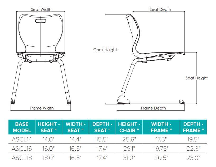 Alphabet Cantilever Chair Dimensions