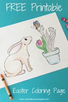 Free Spring Coloring Page | Bunny with Tulips and Butterfly
