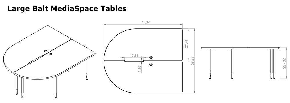 Large MediaSpace Tables Line Drawings