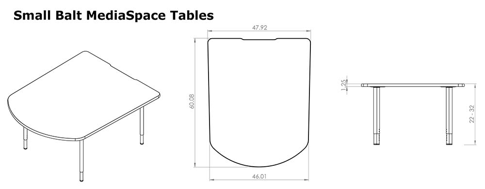 Small MediaSpace Tables Line Drawing