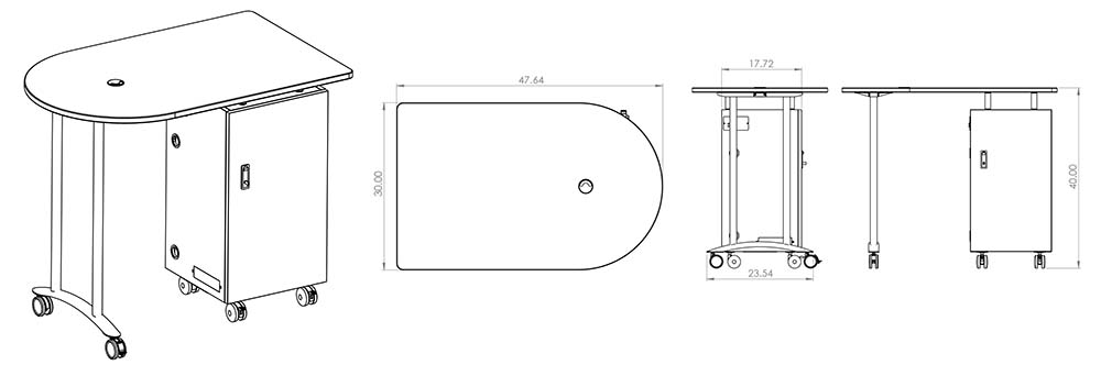 Balt Mobile Teacher Workstation Line Drawings