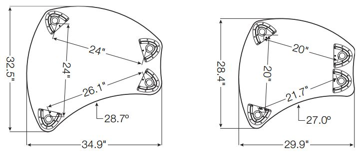 Shapes desk line drawing dimensions