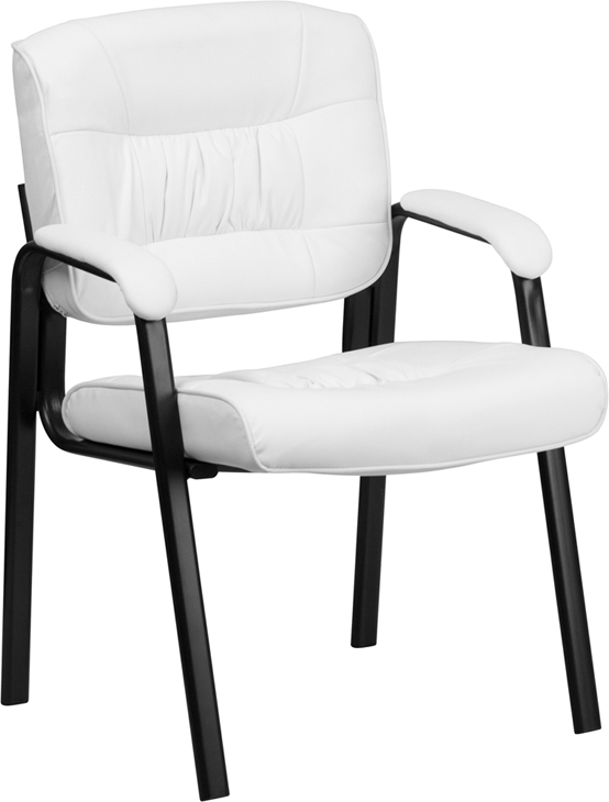 white leather guest reception chair with black frame finish