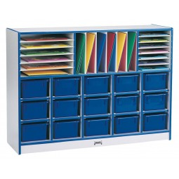 Jonti-Craft Rainbow Accents Sectional Cubbie-Tray Mobile Unit - with Trays - Matching Trays and Edge
