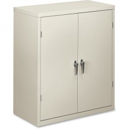 "HON Storage Cabinet, 2-Shelf, 36"" x 18¼"" x 41¾"", Light Gray"