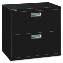 """HON Brigade 2-Drawer Lateral File, with Lock, 30"""", Black"""