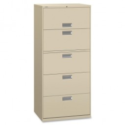 "HON 600 Series 5-Drawer Locking Lateral File, 30"", Putty"