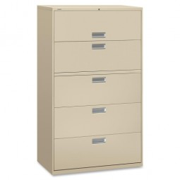 "HON 600 Series 5-Drawer Locking Lateral File, 42"", Putty"