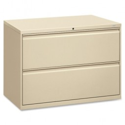 "HON Brigade 800 Series 2-Drawer Lateral File, with Lock, 42"", Putty"