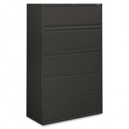 "HON Brigade 5 Drawer Full-Pull Lateral File, with Lock, 42"" x 19¼"" x 67"", Charcoal"