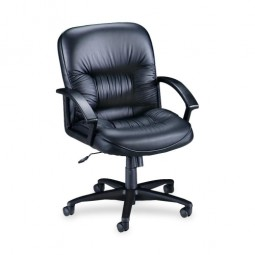 "Lorell Managerial MidBack Chair, 25¾"" x 29"" x 38½"" to 42"", Black Leather"