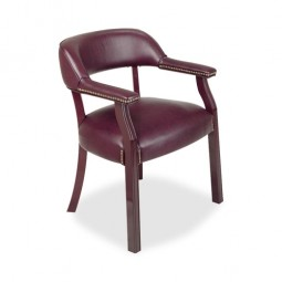 Lorell Berkeley Captain Chair, Wrap Around Back, Burgundy