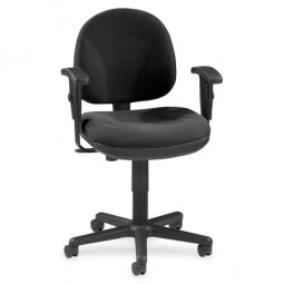 "Lorell Adjustable Task Chair, 24"" x 24"" x 33"" to 38"", Black"