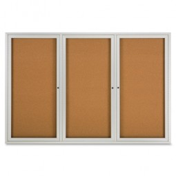 Quartet Cork Boards with Glass Door, 3 Door - Multiple options